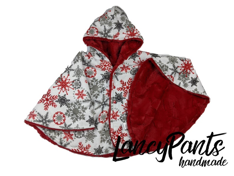 Made to order reversible double minky cardinal red snowflake image 0