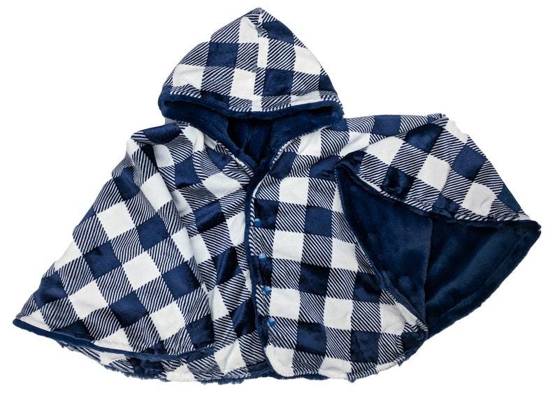 Ready to ship Toddler 2T-4T  reversible navy plaid minky image 0