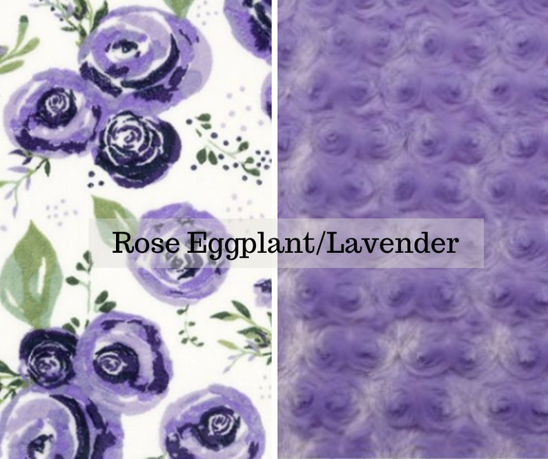 Made to order reversible double minky rose eggplant lavender image 0