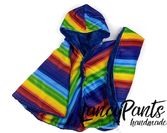 Ready to ship! Toddler (2T-4T)  reversible rainbow minky car seat poncho - winter kids children's poncho -infant poncho- toddler poncho