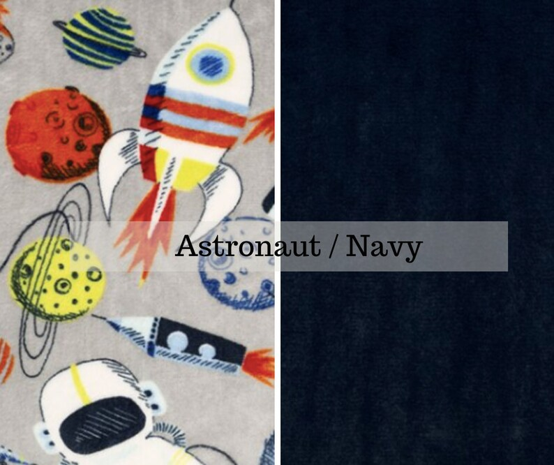 Made to order reversible navy astronaut  floral minky  car image 0