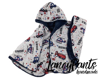 Ready to ship! Toddler (2T-4T)  reversible rescue vehicles navy car seat poncho - winter children's poncho -infant poncho- toddler poncho