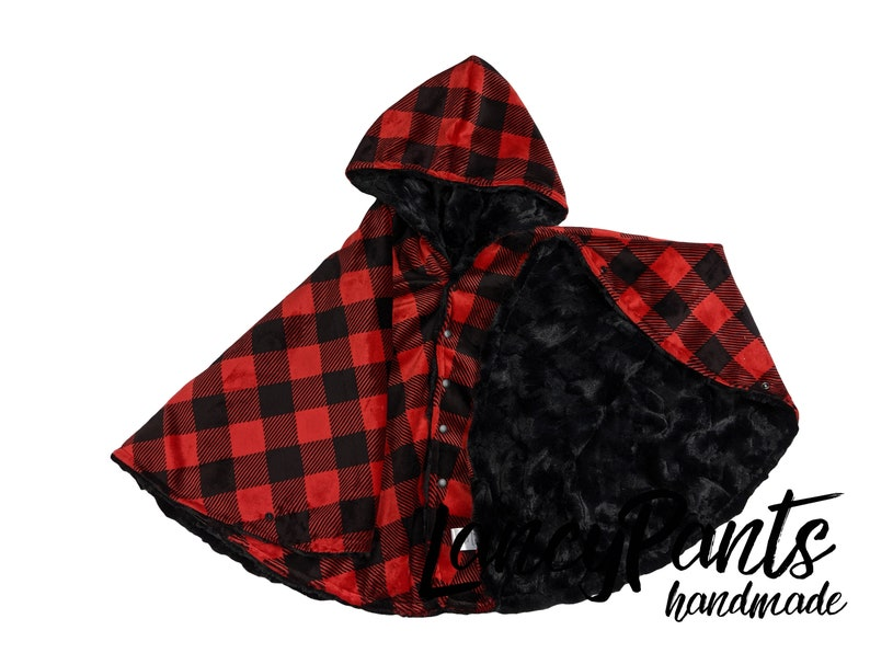 Made to order reversible double minky buffalo plaid black car image 0