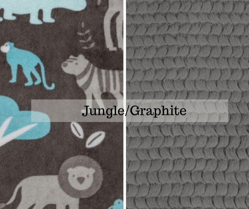 Made to order reversible double minky jungle graphite car seat image 0