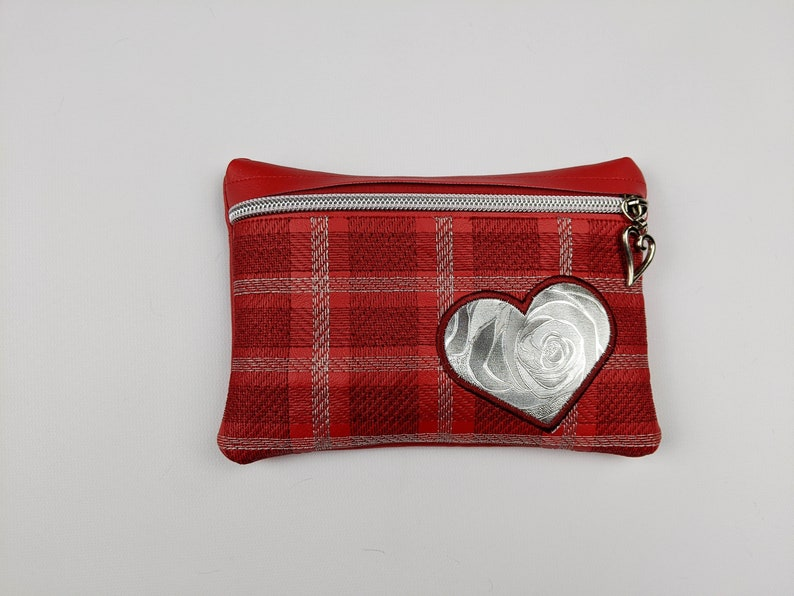 red heart plaid zipper bag valentines gift christmas gift image 0