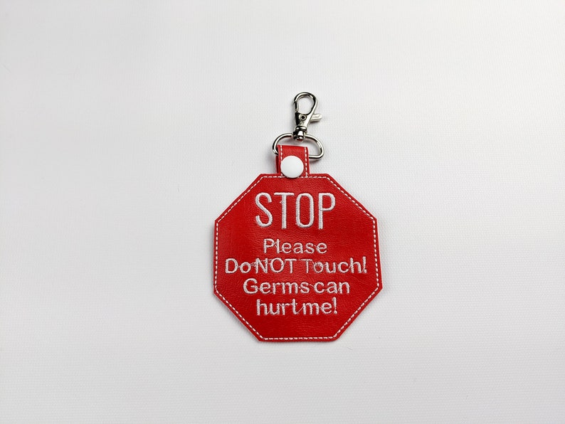 Stop don't touch medical keychain ID tag christmas gift lobster clip
