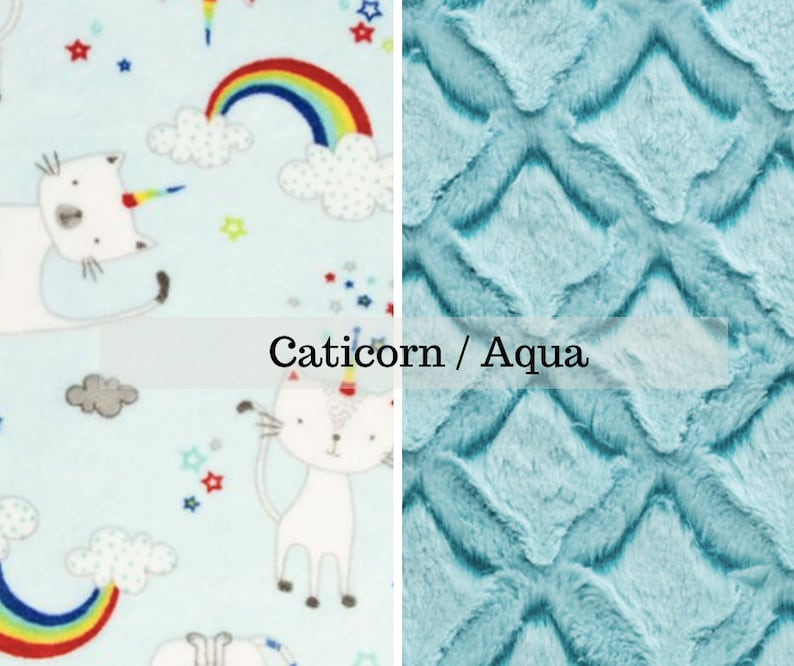 Made to order reversible double minky caticorn aqua car seat image 0