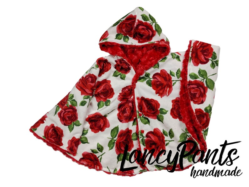 Made to order reversible double minky red rose car seat poncho image 0