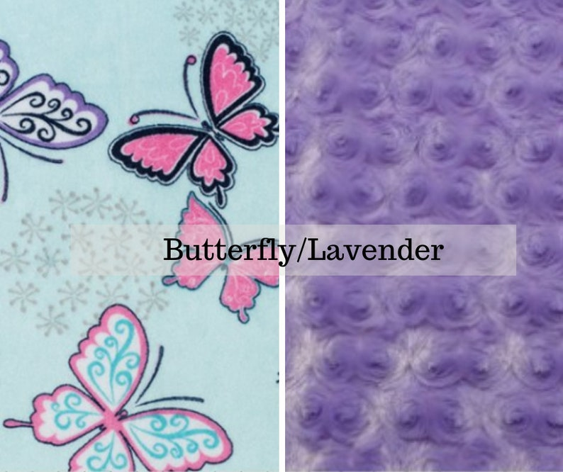 Made to order reversible double minky butterfly lavender rose image 0
