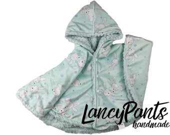 Ready to ship! Baby size (6-24 months)  cottontail bunny ice minky car seat poncho - winter children's toddler poncho