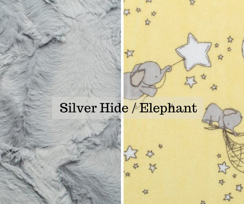 Made to order reversible double minky silver hide elephant car image 0