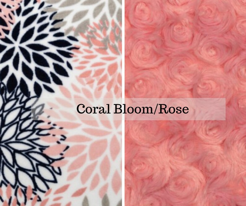 Made to order reversible double minky coral bloom rose car image 0