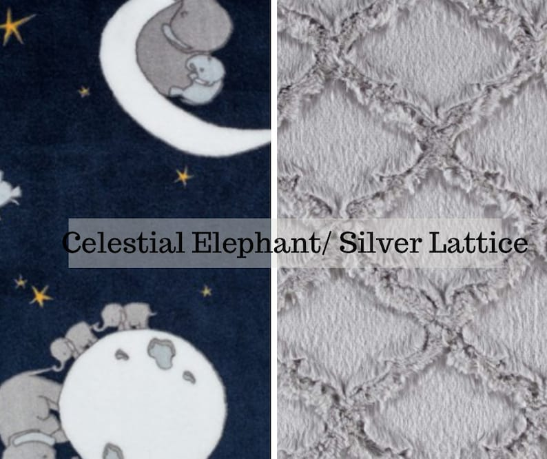 Made to order reversible double minky celestial elephant car image 0
