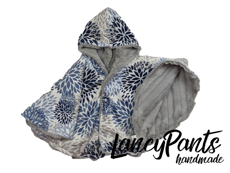 Made to order reversible double minky silver navy bloom image 0