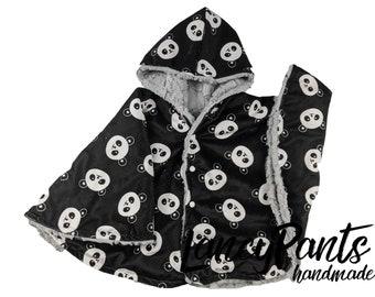 Ready to ship! Toddler (2T-4T)  reversible black panda car seat poncho - winter children's poncho -infant poncho- toddler poncho