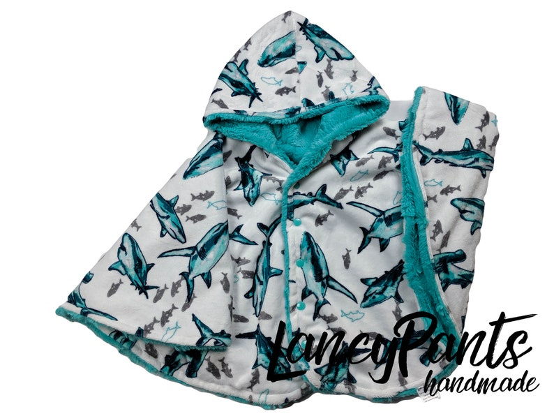 Made to order reversible aqua shark minky  car seat poncho  image 0