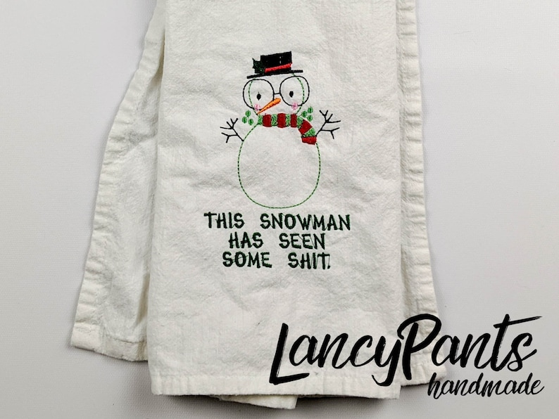 snowman kitchen towel embroidered unique christmas gift image 0