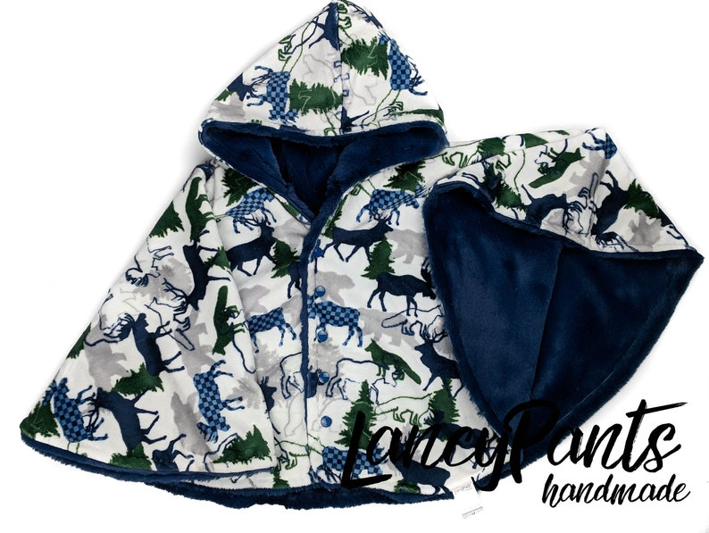 Made to order reversible double minky navy wilderness navy car image 0
