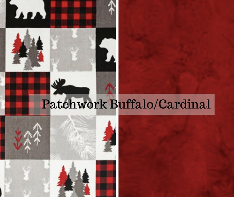 Made to order reversible double minky patchwork plaid cardinal image 0