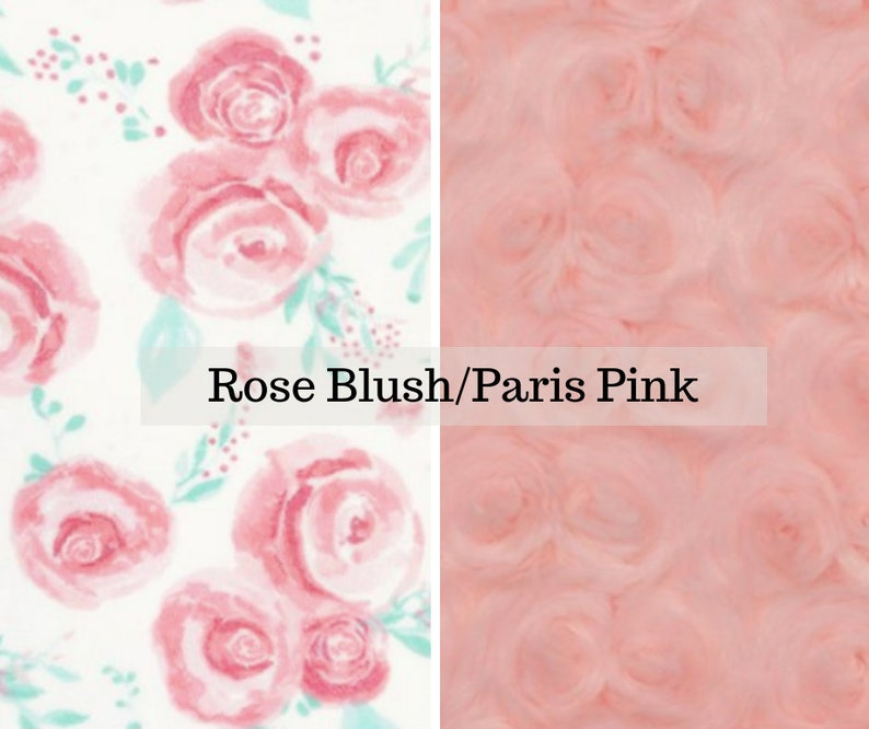 Made to order reversible double minky rose blush paris car image 0