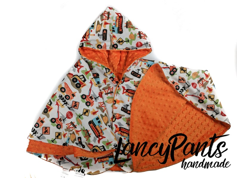 Made to order reversible double minky orange construction car image 0
