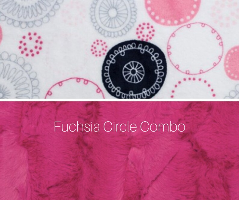 Made to order reversible double minky fuchsia circle car seat image 0