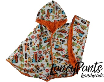Ready to ship! Toddler (2T-4T)  reversible orange construction car seat poncho - winter children's poncho -infant poncho- toddler poncho