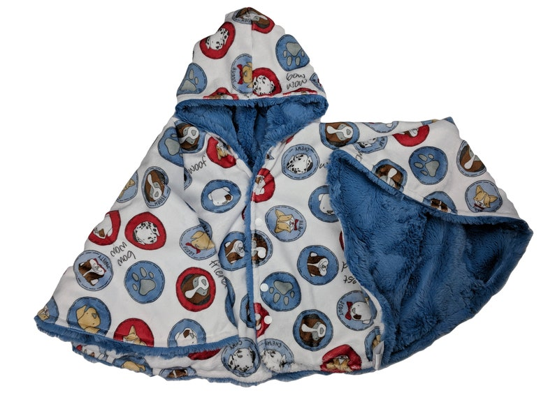 Ready to ship Size 4 2T-4T  reversible puppy friend minky image 0