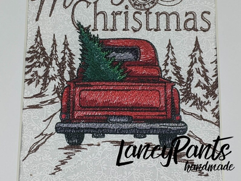 Merry Christmas red truck embroidered framed Christmas decor image 0