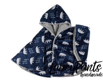 Ready to ship! Toddler (2T-4T)  reversible navy wilderness minky car seat poncho - winter children's poncho -infant poncho- toddler poncho