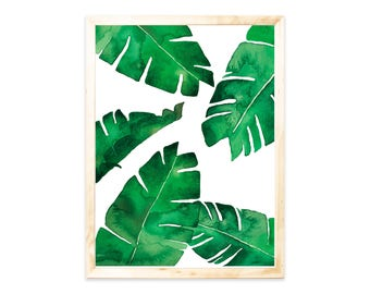 Poster, Bananaleafs, watercolor, greenery, Palm trees