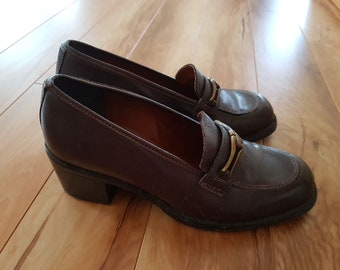 7bdec96ad55 Vintage 90s Chunky Brown Leather Loafers