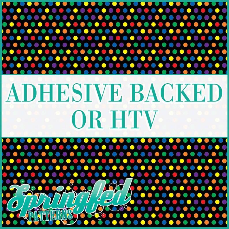 Rainbow Polka Dots on Black Pattern 5 Adhesive or HTV Heat image 0