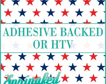 Stars Pattern #1 in White, Navy Blue & Red Adhesive or HTV Heat Transfer Vinyl for Shirts Crafts and More!