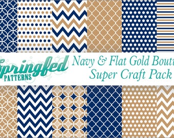 Navy Blue & Flat Gold Boutique Patterns Craft SUPER PACK of Adhesive Vinyl or HTV Sheets