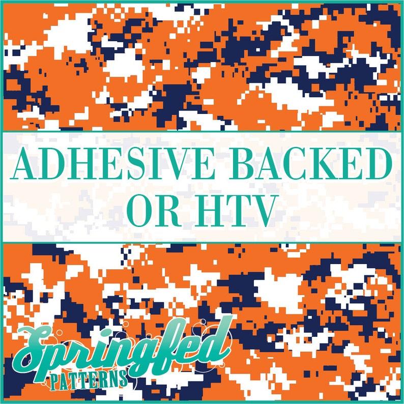 Orange Navy Blue & White Digital Camo Pattern Adhesive Vinyl image 0