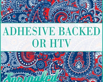 Paisley Pattern #1 Red, Royal Blue & White Adhesive Vinyl or HTV Heat Transfer Vinyl for Shirts Crafts and More!