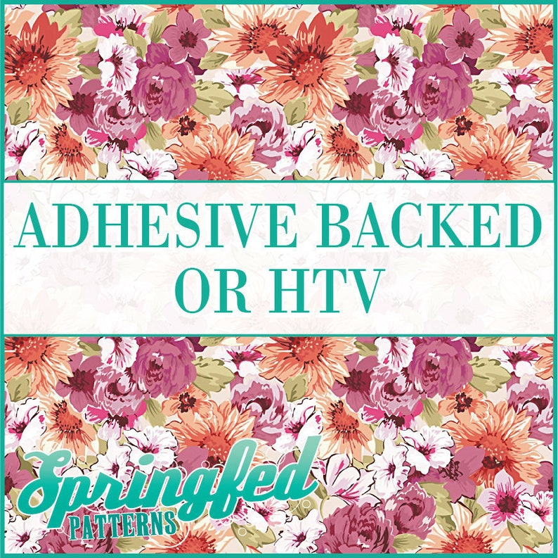 Floral Pattern 1 Adhesive or HTV Heat Transfer Vinyl for image 0
