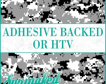 Digital Camo Pattern in Black, Grey & White Adhesive Vinyl or HTV Heat Transfer Vinyl for Shirts Crafts and More!