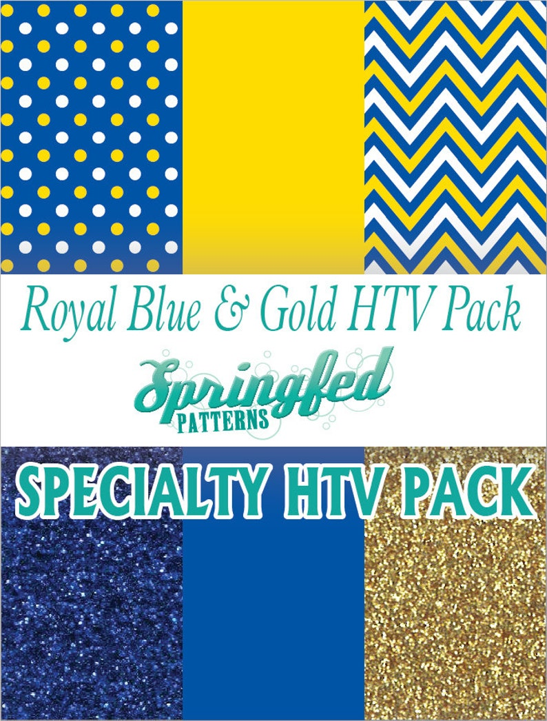 Royal Blue & Gold Specialty HTV Pattern Pack Heat Transfer image 0