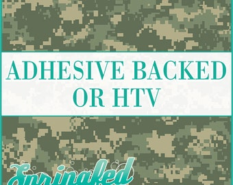 Green Digital Camo Pattern Adhesive Vinyl or HTV Heat Transfer Vinyl for Shirts Crafts and More!