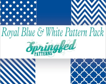 Royal Blue & White Pattern Craft Vinyl Project Pack of Adhesive Vinyl or HTV Sheets