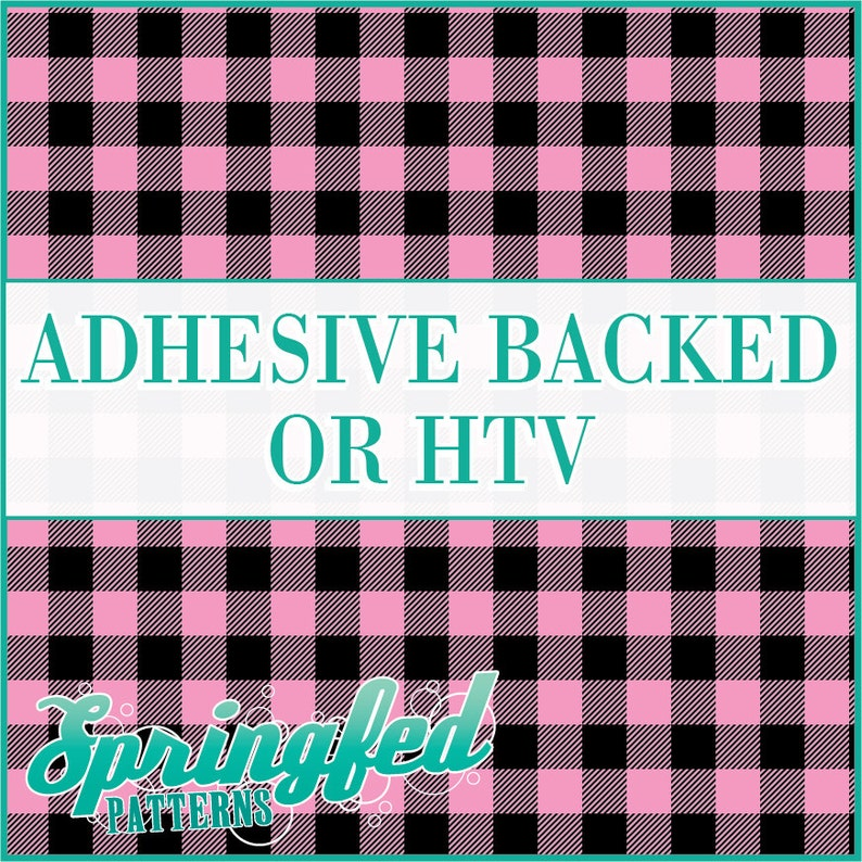 Pink Buffalo Plaid Pattern Adhesive Vinyl or HTV Heat Transfer image 0