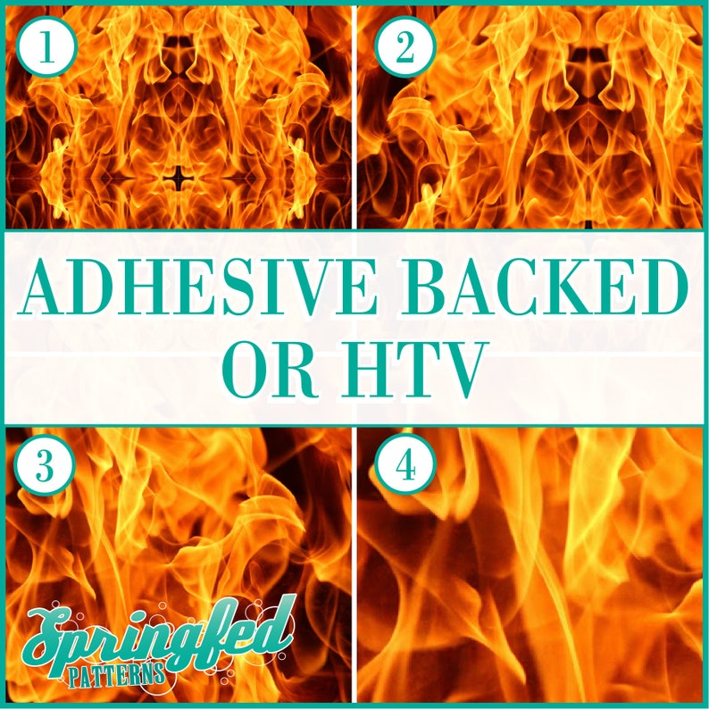 Fire Flames Pattern 2 Adhesive or HTV Heat Transfer Vinyl for image 0