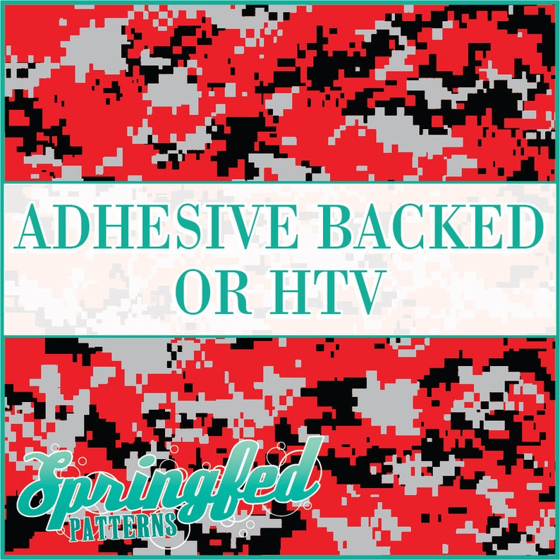 Red Black & Grey Digital Camo Pattern Adhesive Vinyl or HTV image 0