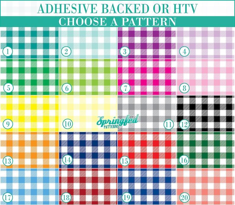 Buffalo Plaid Pattern 1 Basic Colors YOUR CHOICE Adhesive or image 0