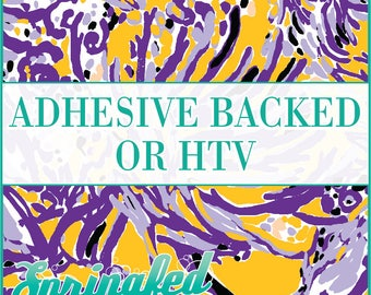 LP Inspired Coral Pattern in Purple, Athletic Gold and White Adhesive or HTV Heat Transfer Vinyl for Shirts Crafts and More!