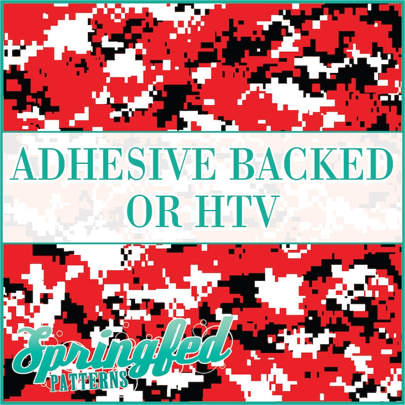 Red Black & White Digital Camo Pattern Adhesive Vinyl or HTV image 0