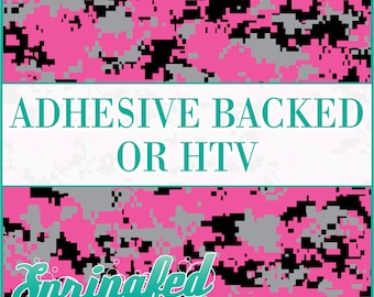 Digital Camo Pattern in Pink, Grey & Black Adhesive Vinyl or HTV Heat Transfer Vinyl for Shirts Crafts and More!