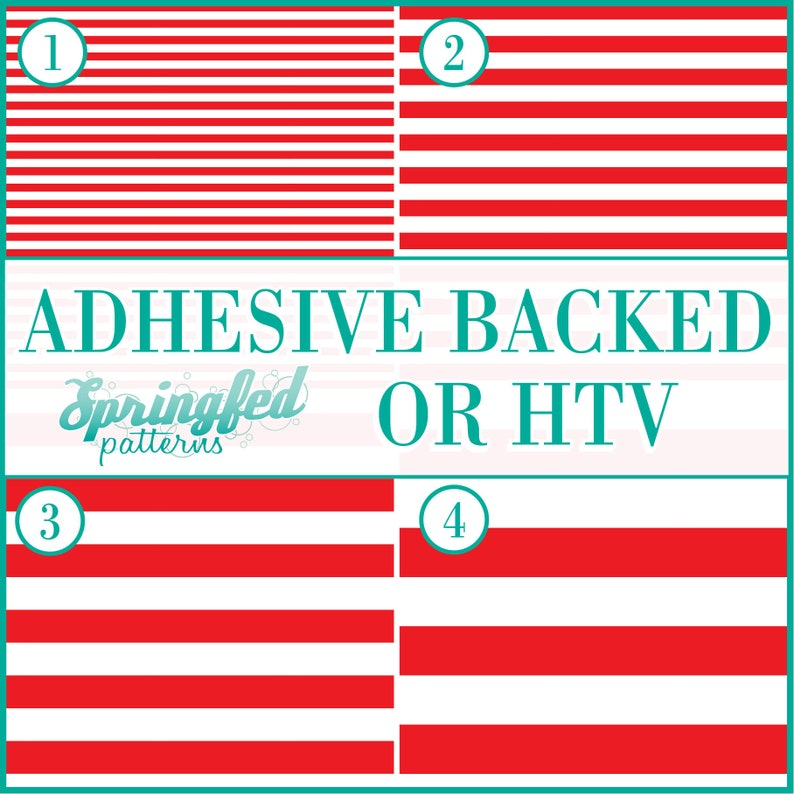 Red & White Stripes Pattern 1 Adhesive or HTV Heat Transfer image 0